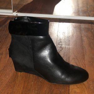 Women's Black Leather Wedge Booties- 8.5